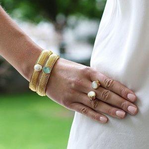 Julie Vos Gold Medici Hinged Bracelet Aquamarine